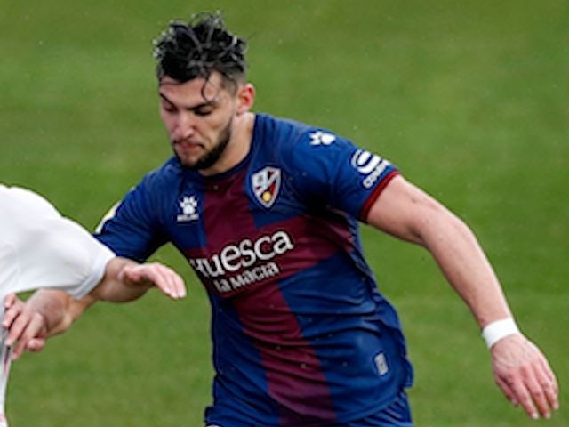 Huesca's Rafa Mir in action against Real Madrid on February 6, 2021