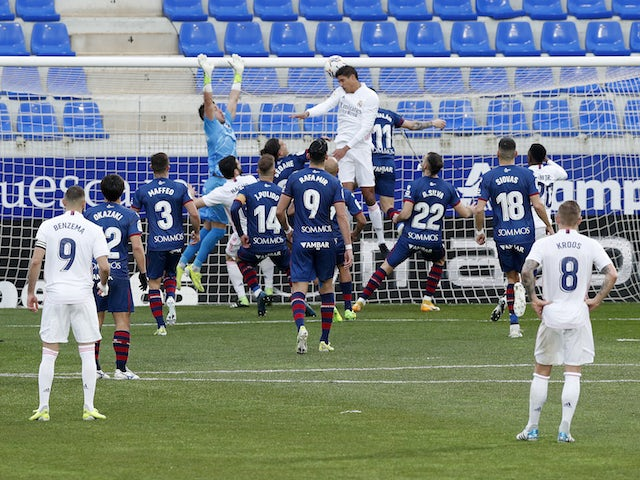 Real Madrid's Raphael Varane scores their first goal on February 6, 2021