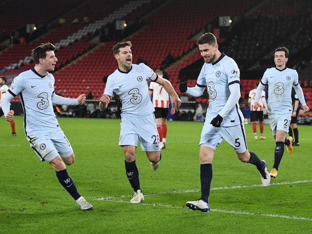 Chelsea's Jorginho celebrates scoring against Sheffield United in the Premier League on February 7, 2021