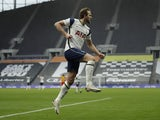 Tottenham Hotspur's Harry Kane celebrates scoring against West Bromwich Albion in the Premier League on February 7, 2021