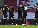 West Ham United's Jesse Lingard celebrates scoring against Aston Villa in the Premier League on February 3, 2021