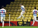Queens Park Rangers' Charlie Austin celebrates after scoring their first goal on February 1, 2021