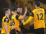 Joao Moutinho celebrates scoring for Wolverhampton Wanderers against Arsenal in the Premier League on February 2, 2021