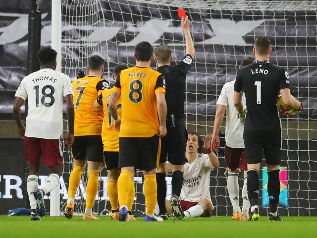 David Luiz is sent off for Arsenal against Wolverhampton Wanderers on February 2, 2021
