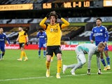 Wolverhampton Wanderers forward Fabio Silva in action against Leicester City in the Premier League on February 7, 2021