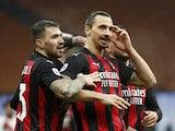 AC Milan's Zlatan Ibrahimovic celebrates scoring against Crotone in Serie A on February 7, 2021