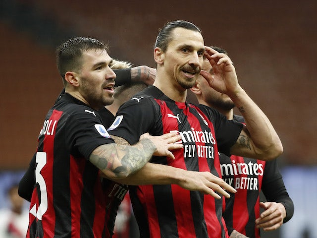AC Milan's Zlatan Ibrahimovic celebrates scoring against Crotone in Serie A on February 7, 2021