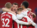 Arsenal's Pierre-Emerick Aubameyang celebrates scoring against Leeds United in the Premier League on February 14, 2021