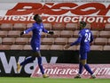 Chelsea's Tammy Abraham celebrates scoring against Barnsley in the FA Cup on February 11, 2021