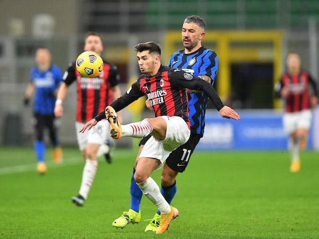 AC Milan's Brahim Diaz in action with Inter Milan's Aleksandar Kolarov in Serie A on January 26, 2021