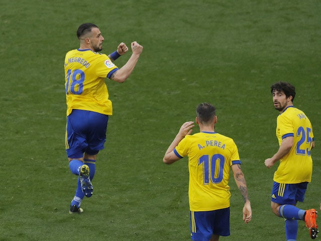 Cadiz's Alvaro Negredo celebrates scoring their second goal in January 2021