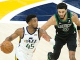 Utah Jazz guard Donovan Mitchell in action against Boston Celtics on February 9, 2021