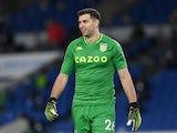 Aston Villa's Emiliano Martinez reacts on February 13, 2021