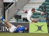 England's Jonny May scores their third try against Italy in the Six Nations on February 13, 2021