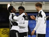 Fulham's Josh Maja celebrates scoring against Everton in the Premier League on February 14, 2021