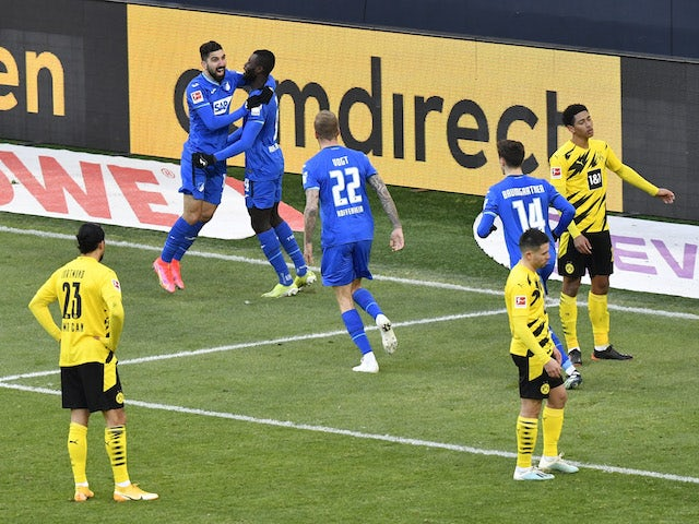 Hoffenheim's Ihlas Bebou celebrates scoring their second goal on February 13, 2021