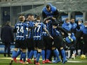 Inter Milan's Lautaro Martinez celebrates scoring against Lazio in Serie A on February 14, 2021