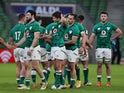Ireland players look dejected after the Six Nations clash with France on February 14, 2021