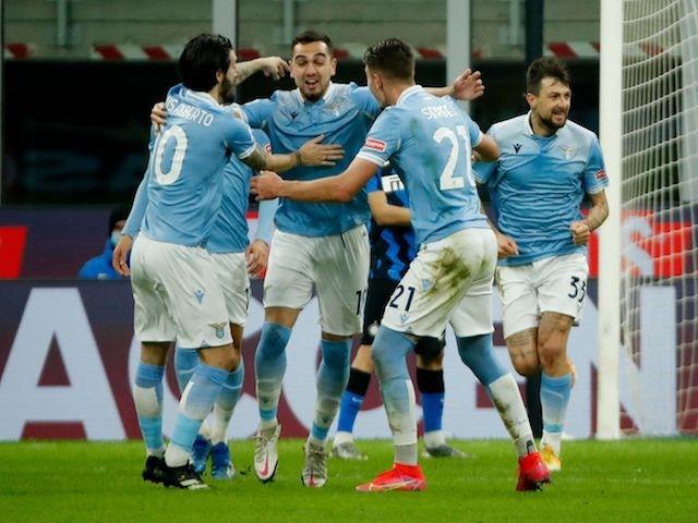 Lazio's Gonzalo Escalante celebrates scoring their first goal with teammates on February 14, 2021