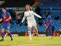 Patrick Bamford celebrates scoring for Leeds United against Crystal Palace in the Premier League on February 8, 2021