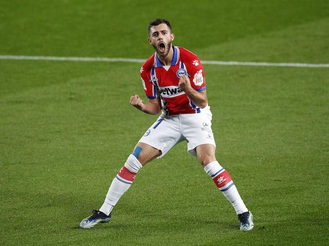 Alaves' Luis Rioja celebrates scoring their first goal on February 13, 2021