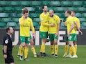 Norwich City's Teemu Pukki celebrates scoring their second goal with teammates on February 13, 2021