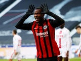 Eintracht Frankfurt's Obite Ndicka celebrates scoring their second goal on February 14, 2021