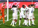 Ferland Mendy celebrates scoring for Real Madrid against Getafe in La Liga on February 9, 2021
