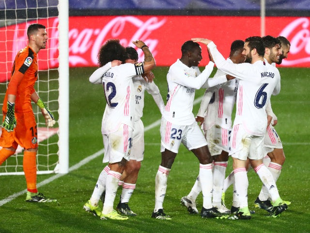 Ferland Mendy celebrates scoring for Real Madrid against Getafe in La Liga on February 9, 2021