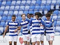 Reading's Alfa Semedo celebrates with teammates after scoring their first goal on February 13, 2021