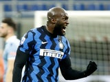 Inter Milan's Romelu Lukaku celebrates scoring their second goal on February 14, 2021