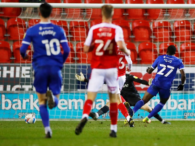 Cardiff City's Sheyi Ojo scores their first goal against Rotherham in the Championship on February 9, 2021