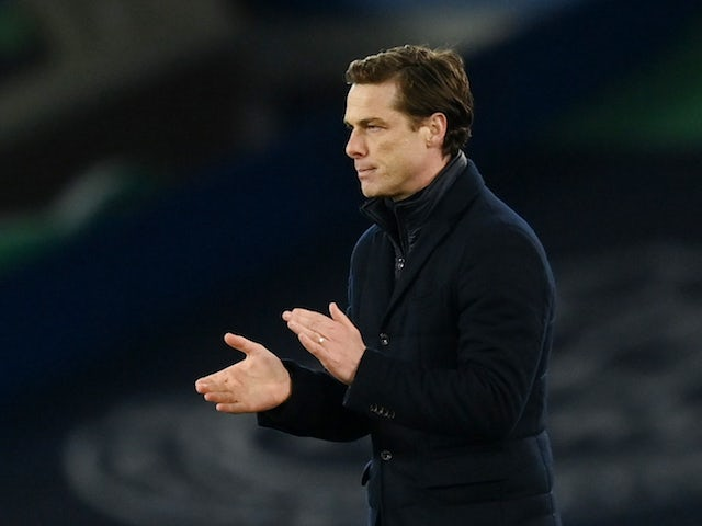 Fulham manager Scott Parker celebrates after the match on February 14, 2021