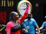 Serena Williams celebrates beating Laura Siegemund at the Australian Open on February 8, 2021