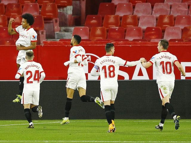 Sevilla's Jules Kounde celebrates scoring against Barcelona in the Copa del Rey on February 10, 2021