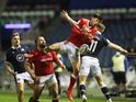Wales' Louis Rees-Zammit in action with Scotland's Duhan van der Merwe in the Six Nations on February 13, 2021