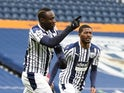West Bromwich Albion's Mbaye Diagne celebrates scoring against Manchester United in the Premier League on February 14, 2021