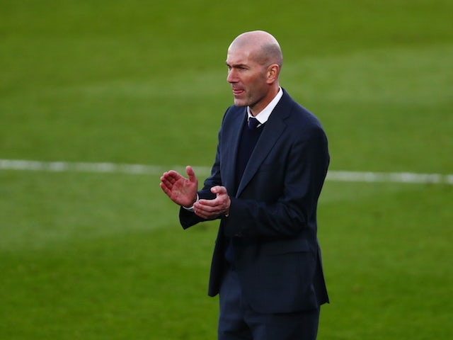 Real Madrid coach Zinedine Zidane pictured on February 14, 2021