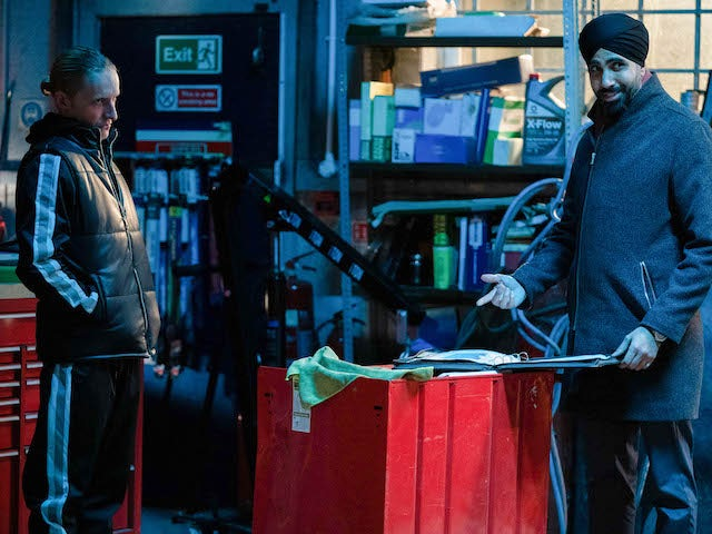 Stas and Kheerat on EastEnders on March 1, 2021