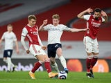 Manchester City's Kevin De Bruyne in action against Arsenal on February 21, 2021