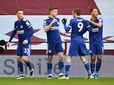 Leicester City's Harvey Barnes celebrates scoring against Aston Villa in the Premier League on February 21, 2021