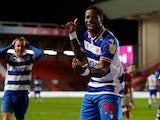 Reading's Lucas Joao celebrates scoring against Bristol City in the Championship on February 16, 2021