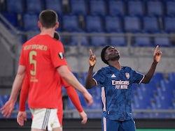 Arsenal's Bukayo Saka celebrates scoring against Benfica in the Europa League on February 18, 2021