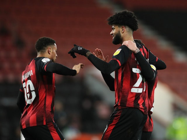 Bournemouth's Phillip Biling celebrates scoring against Rotherham United in the Championship on February 17, 2021