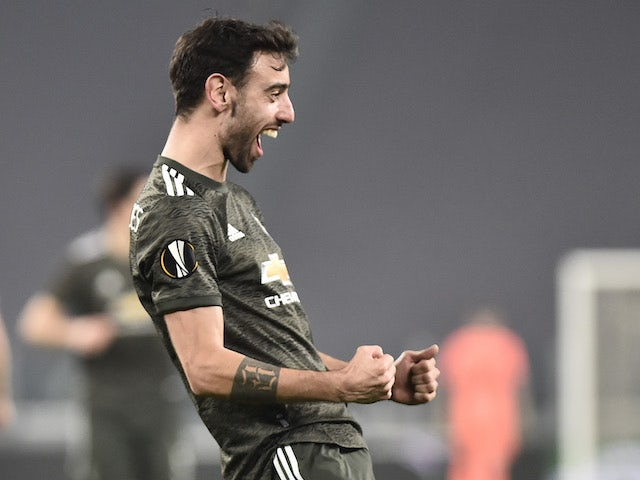 Manchester United's Bruno Fernandes celebrates scoring their second goal in the Europa League on February 18, 2021