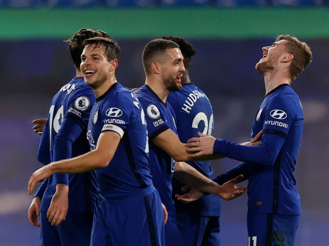 Chelsea's Timo Werner celebrates scoring against Newcastle United in the Premier League on February 15, 2021