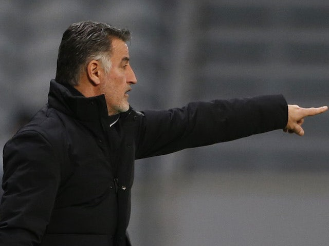 Lille coach Christophe Galtier in the Europa League on February 18, 2021