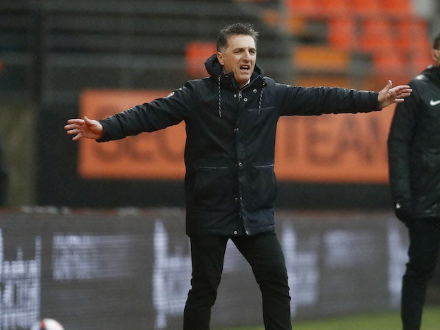 Lorient manager Christophe Pelissier pictured in January 2021