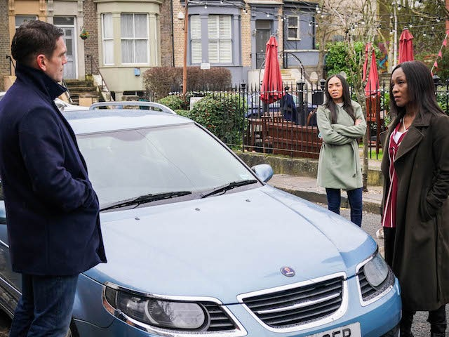 Jack, Chelsea and Denise on EastEnders on March 4, 2021