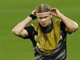 Erling Braut Haaland warms up for Borussia Dortmund on February 17, 2021